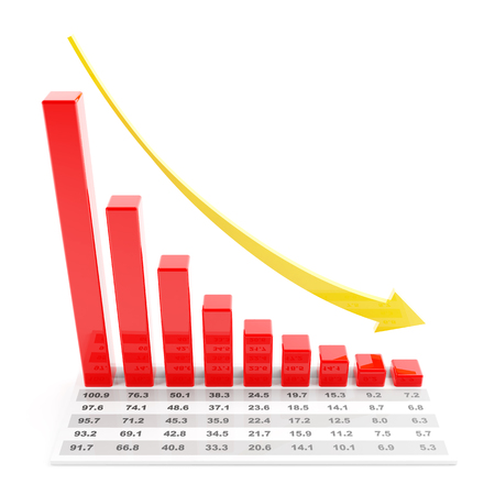 trend: Bar graph with data showing falling trend, 3d render Stock Photo
