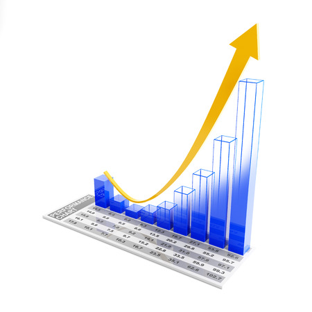 rising: 3d business chart with wireframe part showing a rising trend Stock Photo