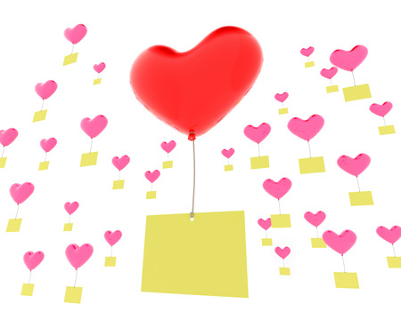 memos: 3d render of a heart shaped balloons with memos