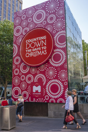 count down: Melbourne, Australia - Dec 16, 2015: Counting down to Christmas sign in Melbourne CBD