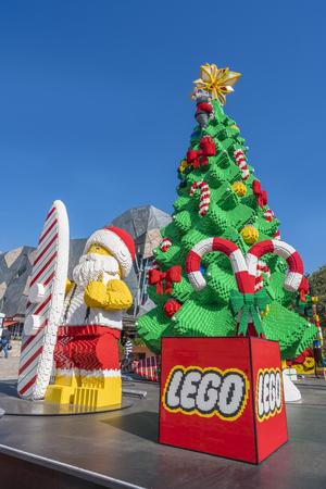 melbourne australia: Melbourne, Australia - Dec 16, 2015: Christmas tree and Santa Claus made by Lego bricks on public display in Melbourne CBD Editorial