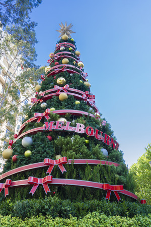 huge christmas tree: Giant Christmas tree in downtown Melbourne, Australia Stock Photo