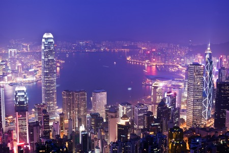 finanical: View of Victoria Harbour in Hong Kong from the Peak