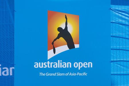 atp: Melbourne, Australia - Jan 7, 2016: Billboard with Australian Open logo. The Australian Open is a major tennis tournament held annually in Melbourne, Australia.