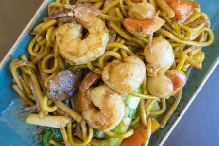 top down: Top down view of stir fry seafood Hokkien noodle