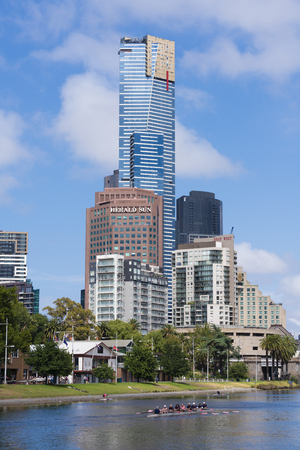 cbd: Melbourne, Australia - Jan 7, 2016: View of Eureka Tower, an iconic building in Melbourne CBD