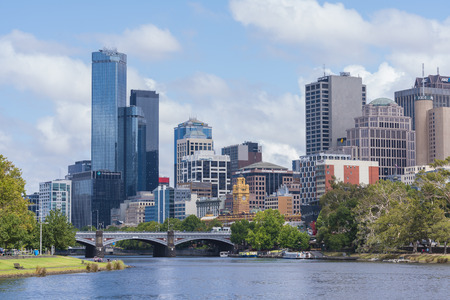 cbd: Melbourne, Australia - Jan 7, 2016: View of Office buildings and Yarra River in Mebourne CBD Editorial