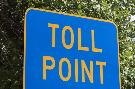 tollway: Blue toll point sign at tollway entrance Stock Photo