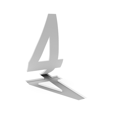 flipping: 3d render of number four flipping up on white background Stock Photo