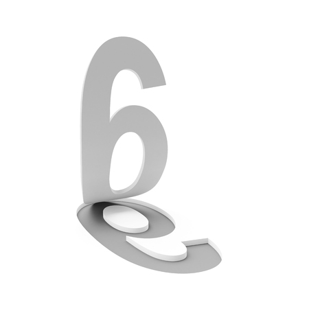 flipping: 3d render of number six flipping up on white background