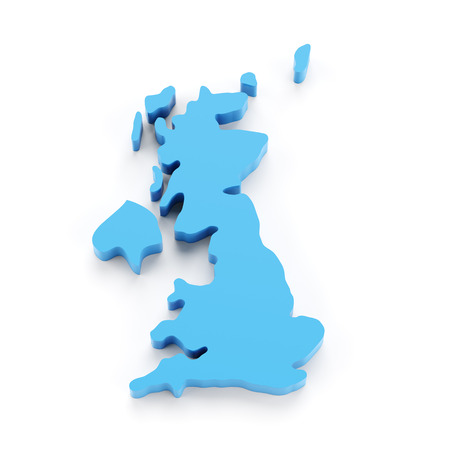 uk: Map of UK, 3d render, white background Stock Photo