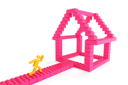 toy house: 3d character running towards a house with generic toy blocks