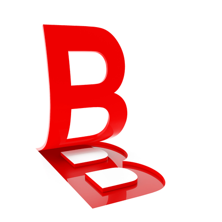 flipping: 3d render of letter B flipping up on white background.