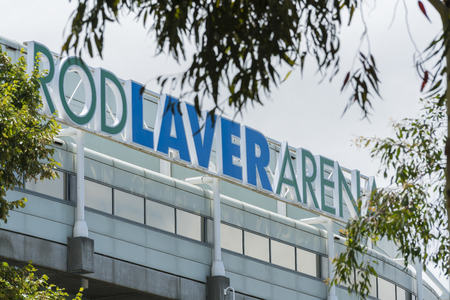 rod sign: Melbourne, Australia - Jan 7, 2016: Close-up view of the sign of Rod Laver Arena in Melbourne, Australia. It is a multipurpose arena and the main venue for the Australian Open in tennis. Editorial