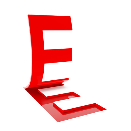 flipping: 3d render of letter E flipping up on white background.