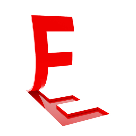 flipping: 3d render of letter F flipping up on white background.