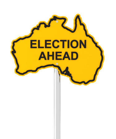 election: Australian election ahead road sign, 3d render