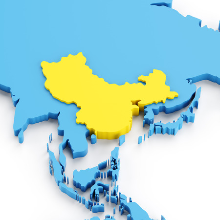 yellow china: Map of China highlighted in yellow, 3d render, white background Stock Photo