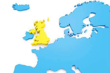 uk: Map of Europe with UK highlighted in yellow, 3d render