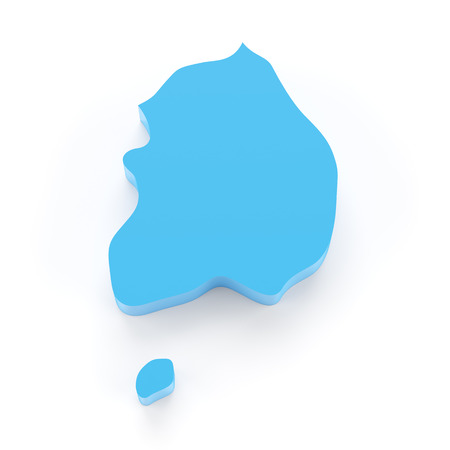 south asian: 3d map of South Korea, 3d render, white background