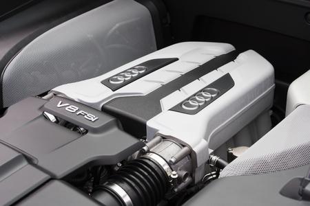 v8: Melbourne, Australia - Oct 23, 2015: V8 FSI engine under the hood of an Audi R8 supercar on public display in Melbourne, Australia Editorial