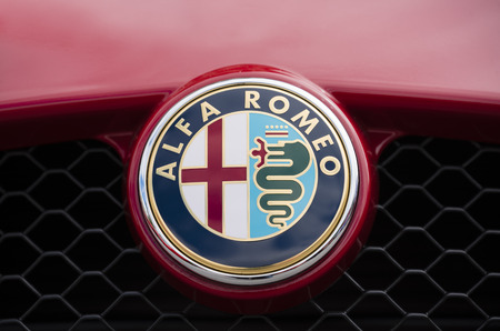 romeo: Melbourne, Australia - Oct 23, 2015: Close-up view of the logo of an Alfa Romeo on public display in a car show