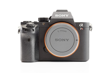 sony: Melbourne, Australia - Feb 10, 2016: Studio shot of Sony A7R II  mirrorless camera. The camera features the worlds first 35mm backside illumination CMOS sensor.