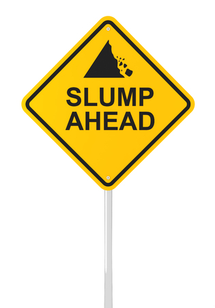 Slump ahead road sign, 3d render, white background