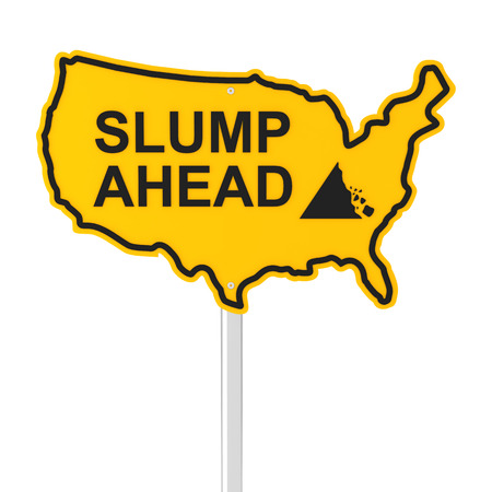 slump: Slump ahead USA shaped road sign, 3d render, white background