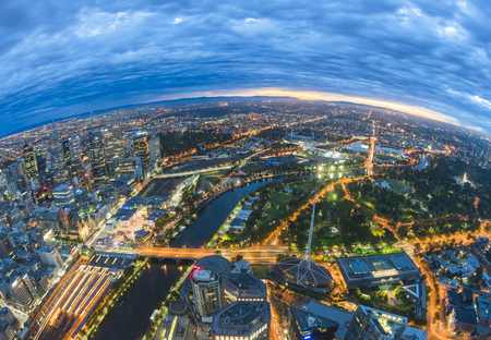 Fisheye view of Melbourne CBD just before sunrise