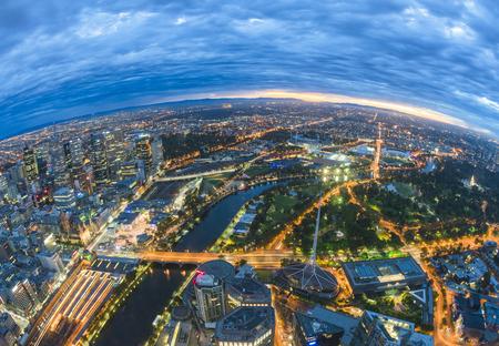 Fisheye view of Melbourne CBD just before sunrise