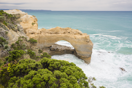 tourist feature: The Grotto in Victoria, Australia. It is a sinkhole and archway formation and a popular tourist attraction along the Great Ocean Road.