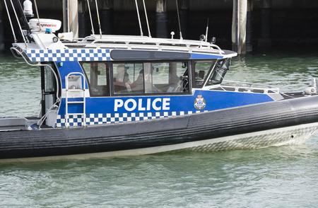 patrolling: Melbourne, Australia - Nov 3, 2015: Close-up view of a Victoria Police boat patrolling in Melbourne, Australia