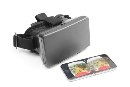 users video: Melbourne, Australia - May 17, 2016: View of a VR headset and an iPhone playing VR video on YouTube. The newly updated YouTube app allows users to watch videos in VR with Google Cardboard