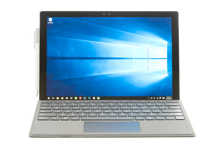 microsoft: Melbourne, Australia - Jun 12, 2016: Microsoft Surface Pro 4 isolated on white background. It is a 2 in 1 detachable PC produced by Microsoft.