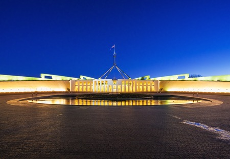 houses of parliament: Parliament House in Canberra, Australia at night