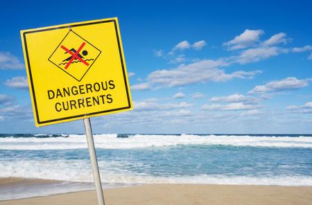 Dangerous currents sign at Bondi Beach in Sydney, Australia