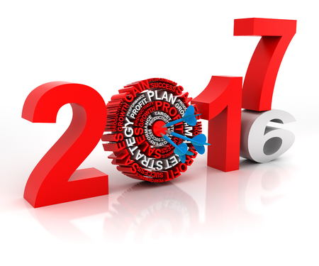 Year 2016 to 2017 business target, 3d render, white background