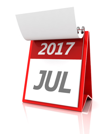 appointments: July of 2017 calendar, 3d render, white background