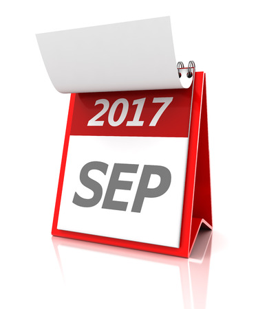 event calendar: September of 2017 calendar, 3d render, white background Stock Photo