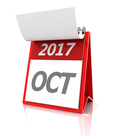 event calendar: October of 2017 calendar, 3d render, white background Stock Photo