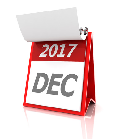 appointments: December of 2017 calendar, 3d render, white background