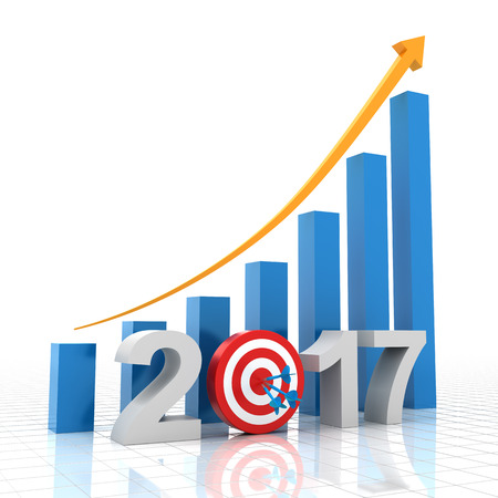 dartboard: Growth target of 2017, 3d render, white background