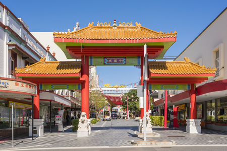 fortitude: Brisbane, Australia - September 25, 2016: View of the entrance of Chinatown in Fortitude Valley, Brisbane with many Chinese restaurants and shops.