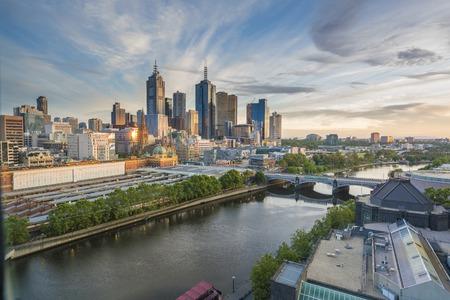 melbourne australia: Skyline at sunrise in Melbourne, Australia