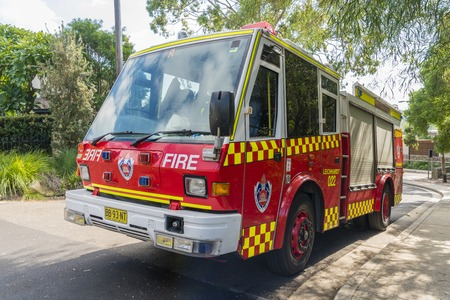 Sydney, Australia - May 11, 2017: Fire truck from the Fire and Rescue NSW, which is responsible for firefighting and rescue in New South Wales, Australia.