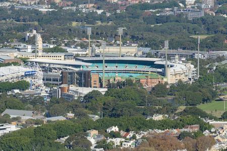 Sydney, Australië - 16 mei 2017: Luchtfoto van Sydney Olympic Park. Het is een groot sportcomplex in het westen van Sydney. Redactioneel