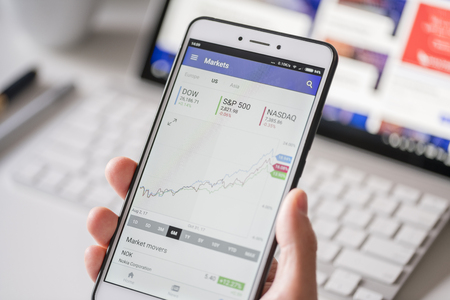 Checking stock market data on a smartphone