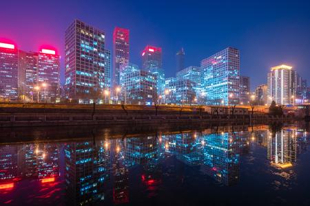 밤에 베이징 CBD 스톡 콘텐츠