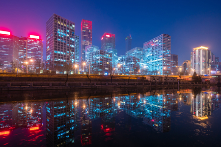 Beijing CBD at night Stock Photo